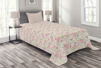 Silhouette Rose Buds Bedspread Set