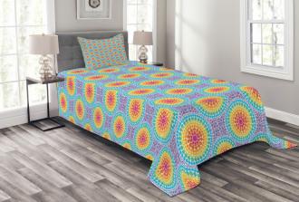 Rainbow Color Circles Bedspread Set