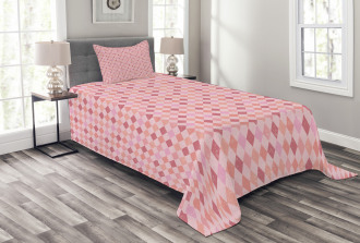 Pink Diamond Shape Bedspread Set