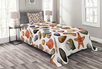 Watercolor Sea Elements Bedspread Set
