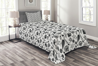 Black and White Clams Bedspread Set