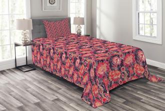 Asian Oriental Flowers Bedspread Set