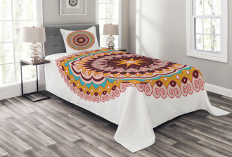 Ethnic Floral Motif Bedspread Set