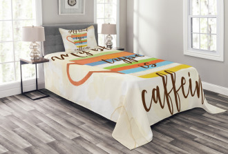 Caffeine Quote Retro Mug Bedspread Set