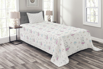 Cartoon Cat Kitten Lady Bedspread Set