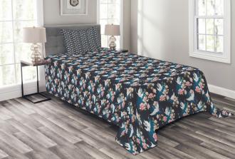 Cranes and Pinky Magnolia Bedspread Set