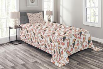 Minimalist Exotic Parrots Bedspread Set