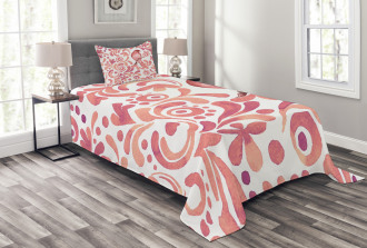Salmon Colored Pattern Bedspread Set