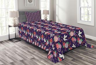 Flying Crane and Flowers Bedspread Set