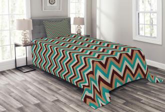 Retro Color Zigzag Line Bedspread Set