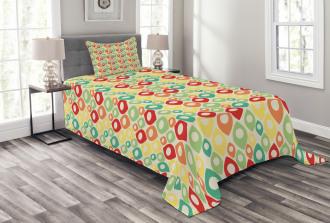 Colorful Shapes Print Bedspread Set