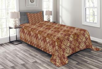 Stylized Curvy Leaves Bedspread Set