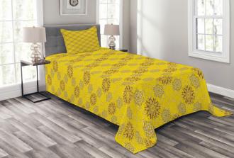 Swirly Flowers Bedspread Set