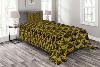 Wave Shape Leaves Bedspread Set