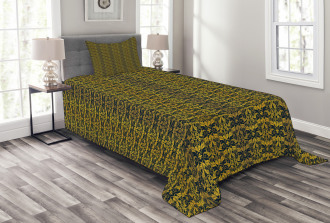 Wavy Floral Leaf Bedspread Set