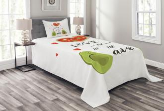 Valentine Fruit Couple Bedspread Set