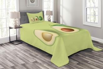 Realistic Half Avocado Bedspread Set