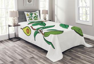 Exotic Fruits on Branch Bedspread Set