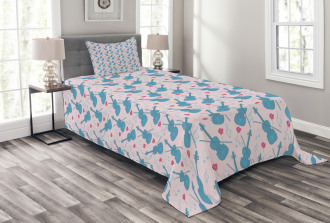 Violin with Notes Pattern Bedspread Set