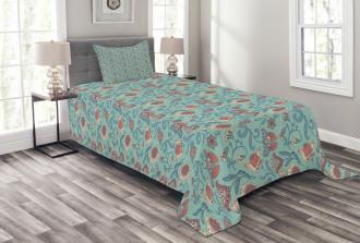 Woodland Floral Design Bedspread Set
