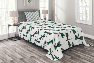 Cartoon Dragonfly Bedspread Set