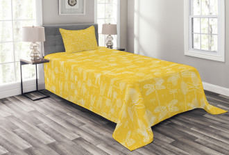 Insect Outline Bedspread Set