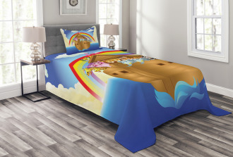 Clouds Animals Ship Bedspread Set