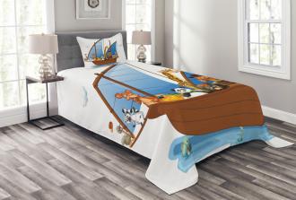 Animal Boat Sailing Bedspread Set