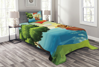 Animals Ark on Shore Bedspread Set
