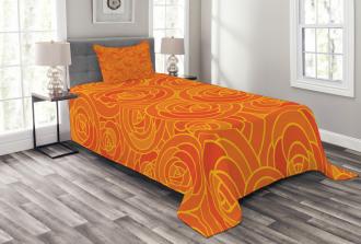 Outline Roses Autumn Bedspread Set