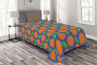 Citrus Fruit Green Leaf Bedspread Set