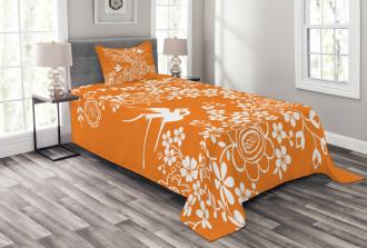 Flowers Birds Bedspread Set