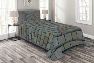Stained Stone Brick Bedspread Set