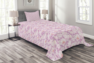 Pastel Flower Blooms Bedspread Set