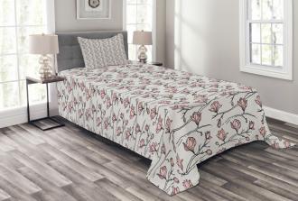 Linear Drawn Blooming Bedspread Set