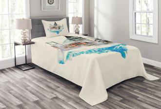 Watercolor Winter Art Bedspread Set