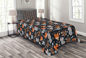 Bunny Fox with Glasses Bedspread Set