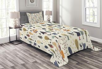 Woodland Trees Animals Bedspread Set