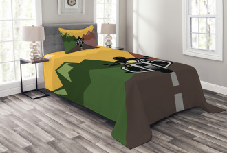 Rider in Mountains Bedspread Set