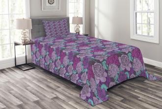 Pastel Tone Delicate Peonies Bedspread Set