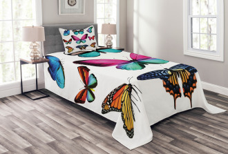 Vibrant Butterflies Set Bedspread Set