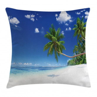 Lagoon Palm Leaf Clouds Pillow Cover