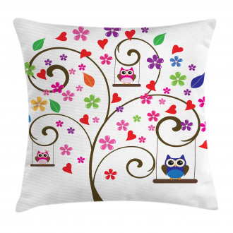 Tree Flowers Playful Birds Pillow Cover