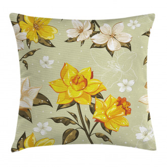 Floral Narcissus Branch Pillow Cover