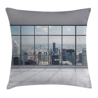 Big Window Downtown View Pillow Cover