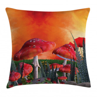 Clouds Leaves Poppies Pillow Cover