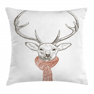 Deer with Scarf Winter Pillow Cover