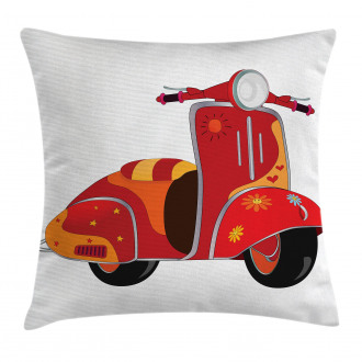 Hippie Urban Scooter Pillow Cover