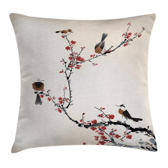 Oriental Artful Illustration Pillow Cover
