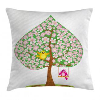 Heart Shape Tree Blossom Pillow Cover